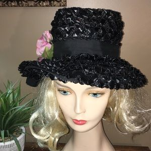 Vintage union made black fancy pink rose brim hat